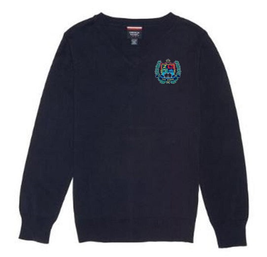 YOUTH FINE GAUGE V-NECK SWEATER W/LOGO