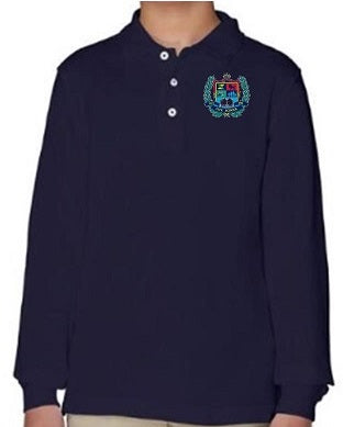 YOUTH UNISEX LONG SLEEVE COTTON POLO W/LOGO