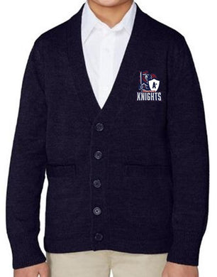 UNISEX YOUTH V NECK CARDIGAN W/ LOGO (SECONDARY)