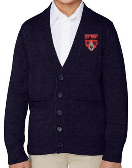 YOUTH V-NECK CARDIGAN W/LOGO