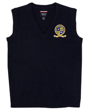 UNISEX YOUTH V-NECK SWEATER VEST W/LOGO