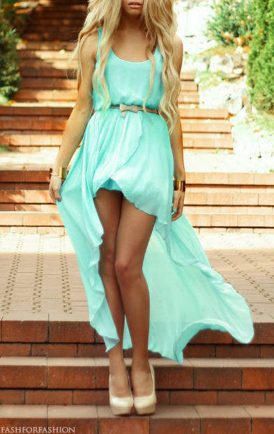 Mint hi-lo Chiffon Dress