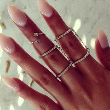 Crystal Chain Link Knuckle Ring