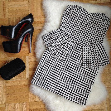 Houndstooth Peplum Dress