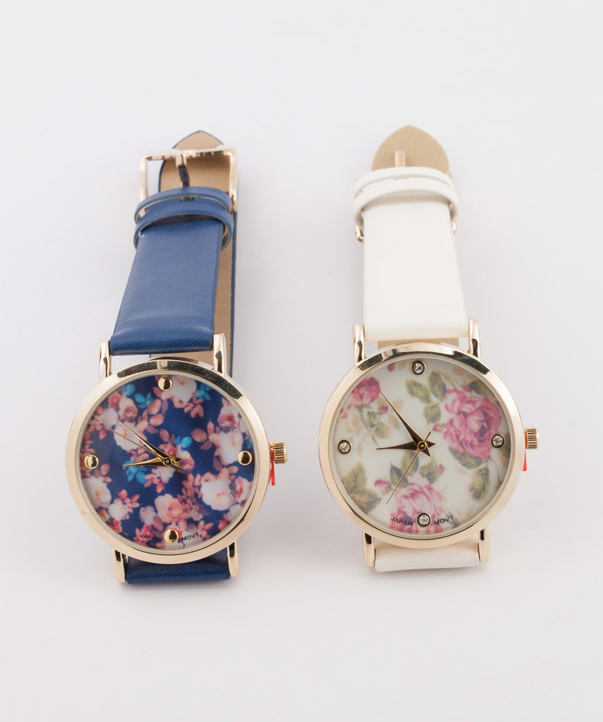 Leather Floral Watch