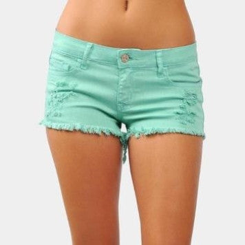 Mint Fray Shorts