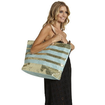 Jute Tote with Sequined Stripes