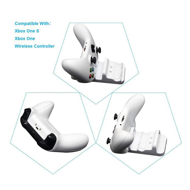 White Dual Dock Charging Station for Xbox One Wireless Controller