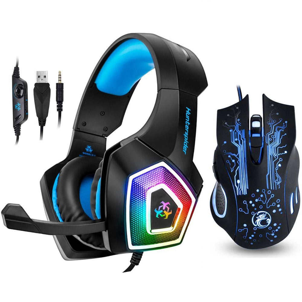 Gaming Headset With Mic LED Light for PS4/Xbox One/PC+5000DPI 7 Button Pro Gaming Mouse