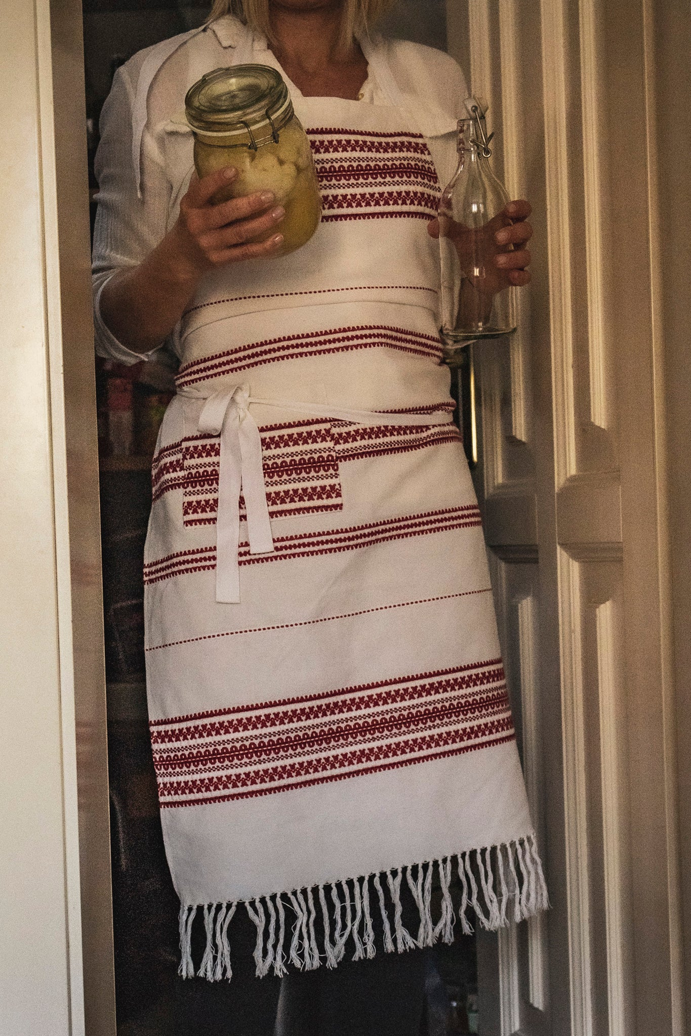 Apron: Full style, vintage handwoven Hungarian hemp - A12