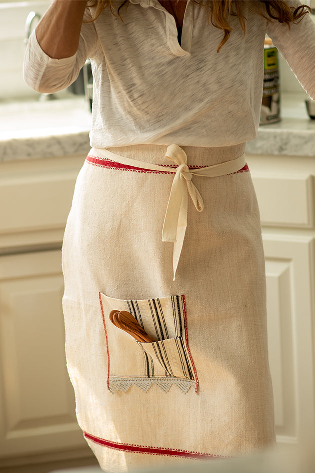 Apron: Cafe style, Antique Bulgarian handwoven cotton - A43