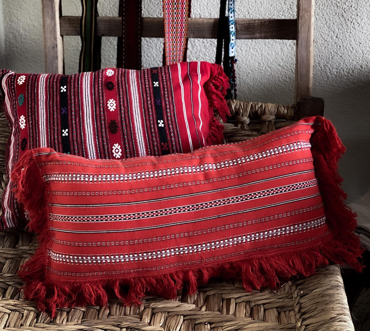 Pillow: Vintage handwoven Bulgarian cotton