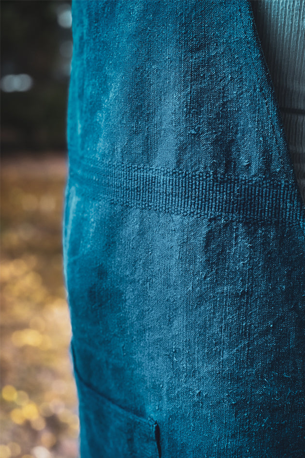 Apron: Full style, Indigo over dyed Hungarian hemp - A59
