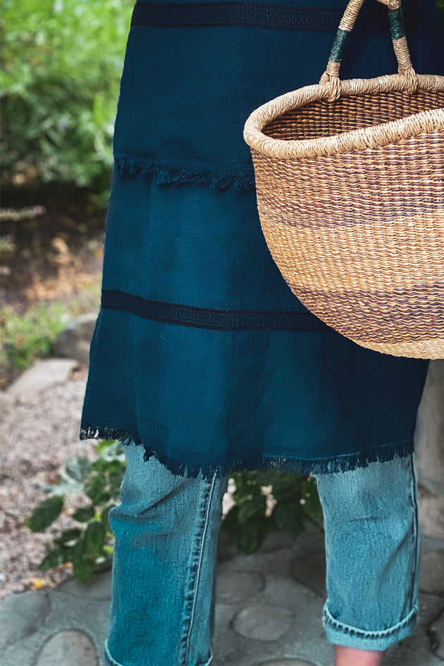 Apron: Full style, Indigo over dyed Hungarian hemp - A62