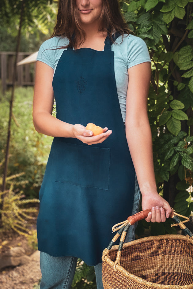 Apron: Full style, Indigo over dyed Hungarian hemp - A65