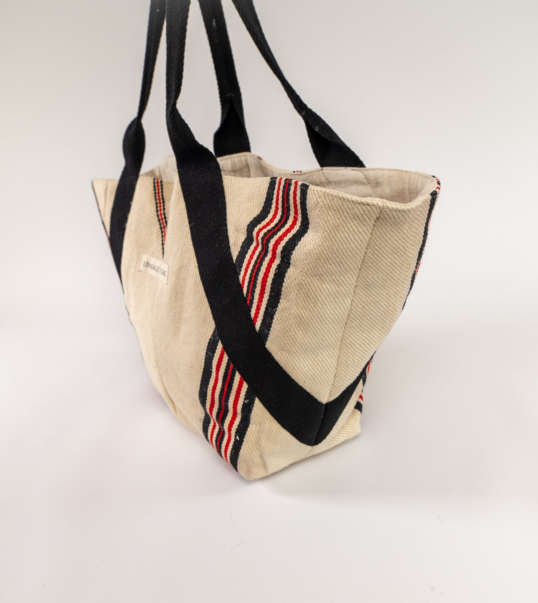 Bag: Handwoven antique hemp grain sack, cotton webbing - BG150