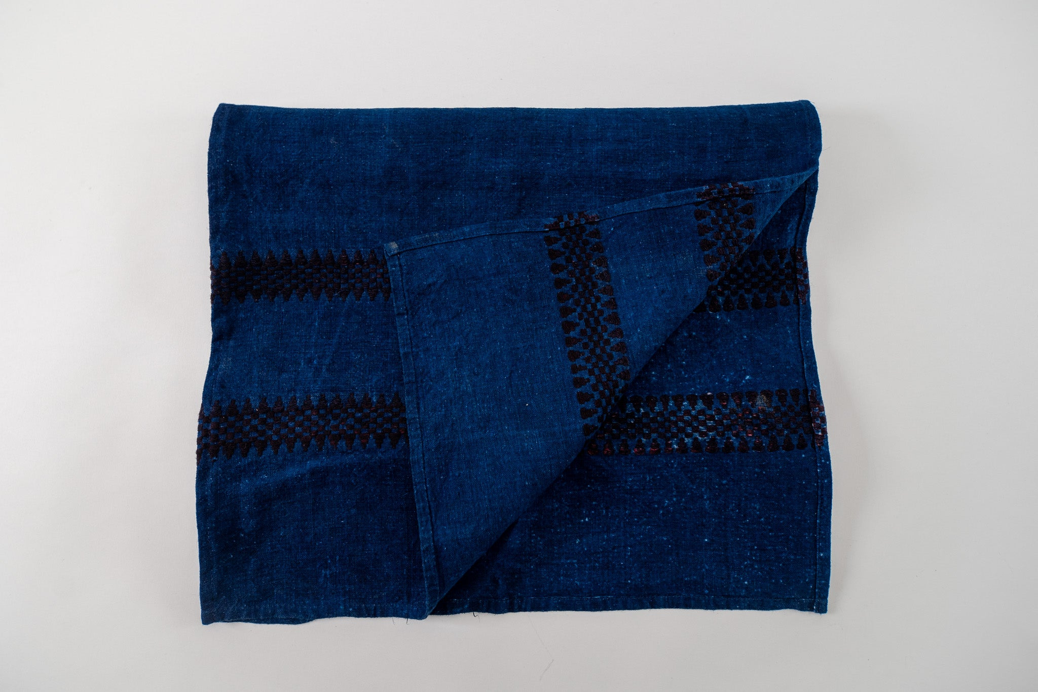Table runner: Antique handwoven Hungarian hemp indigo over dye - TW29