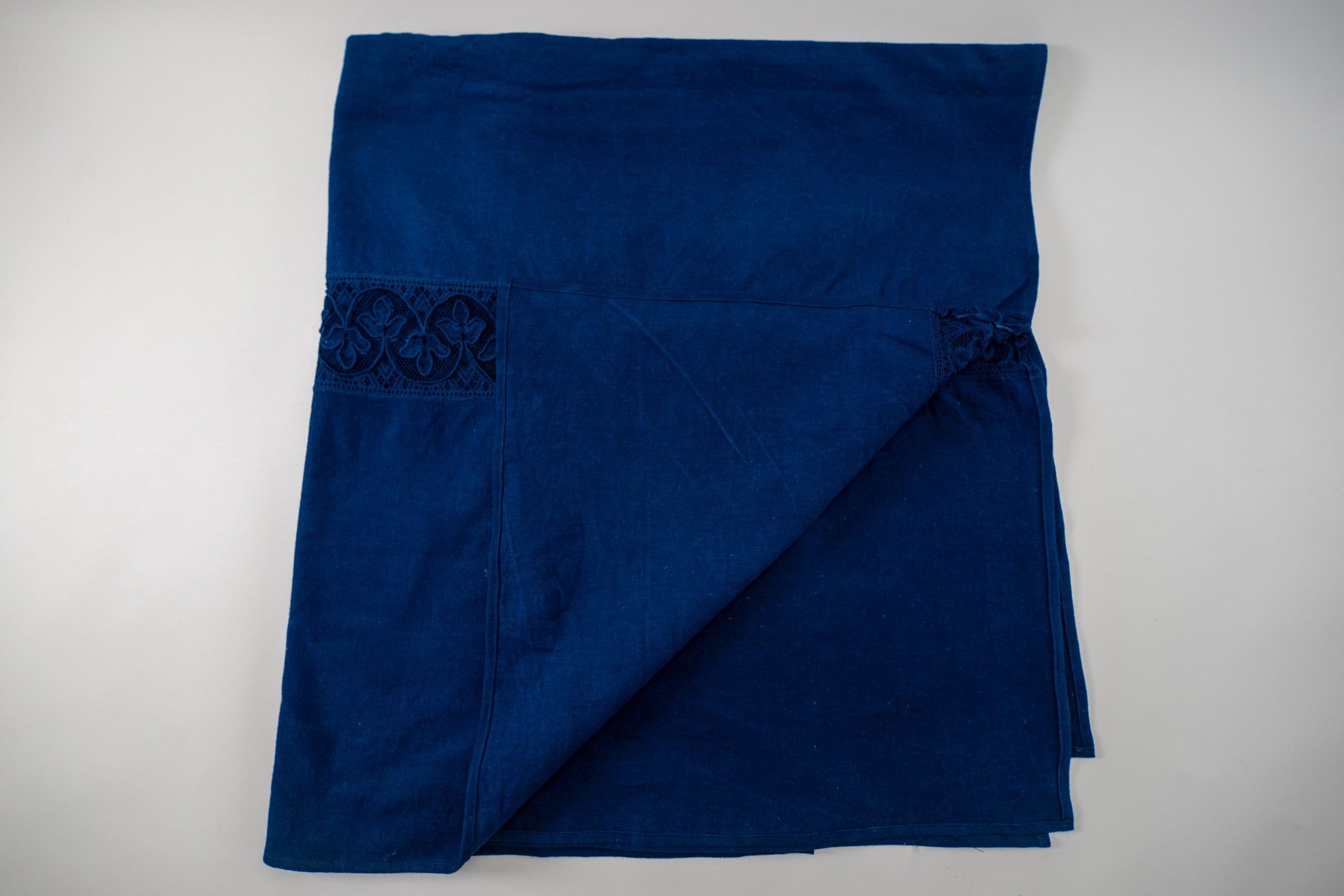 Table cloth: Antique handwoven Hungarian hemp indigo over dye - TW31