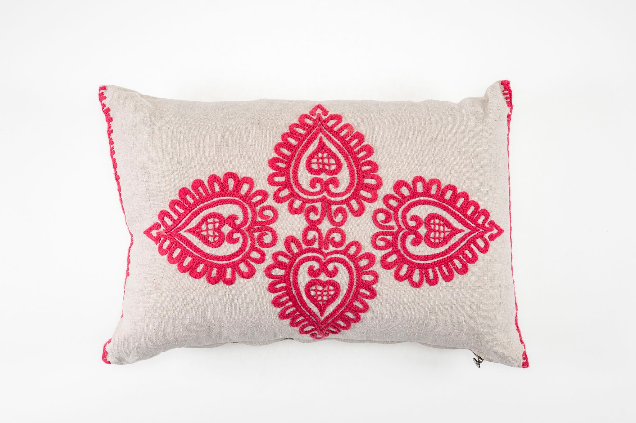 Pillow: Embroidered antique handwoven Hungarian hemp