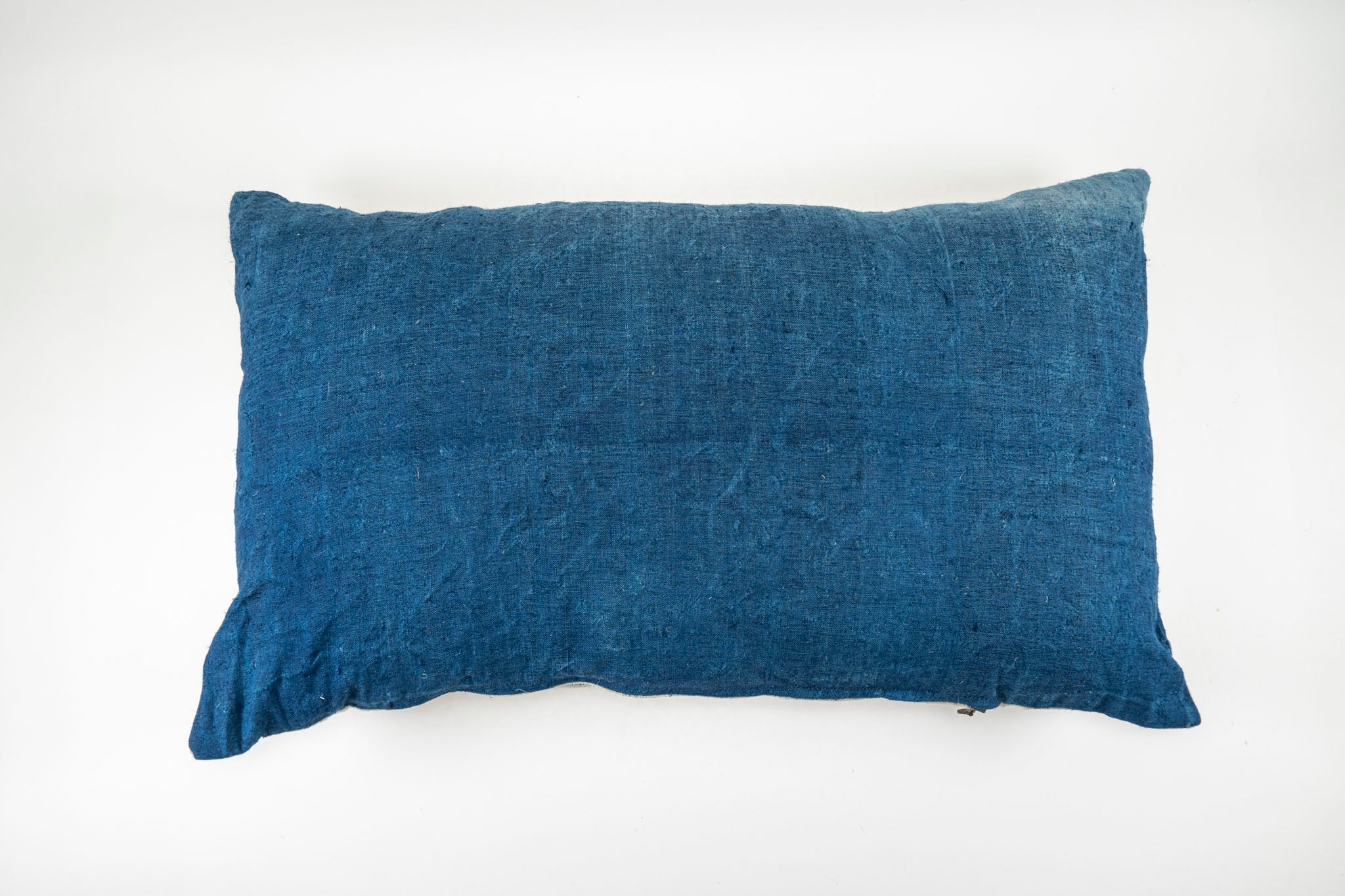 Pillow: Indigo over dyed antique handwoven hemp - P201