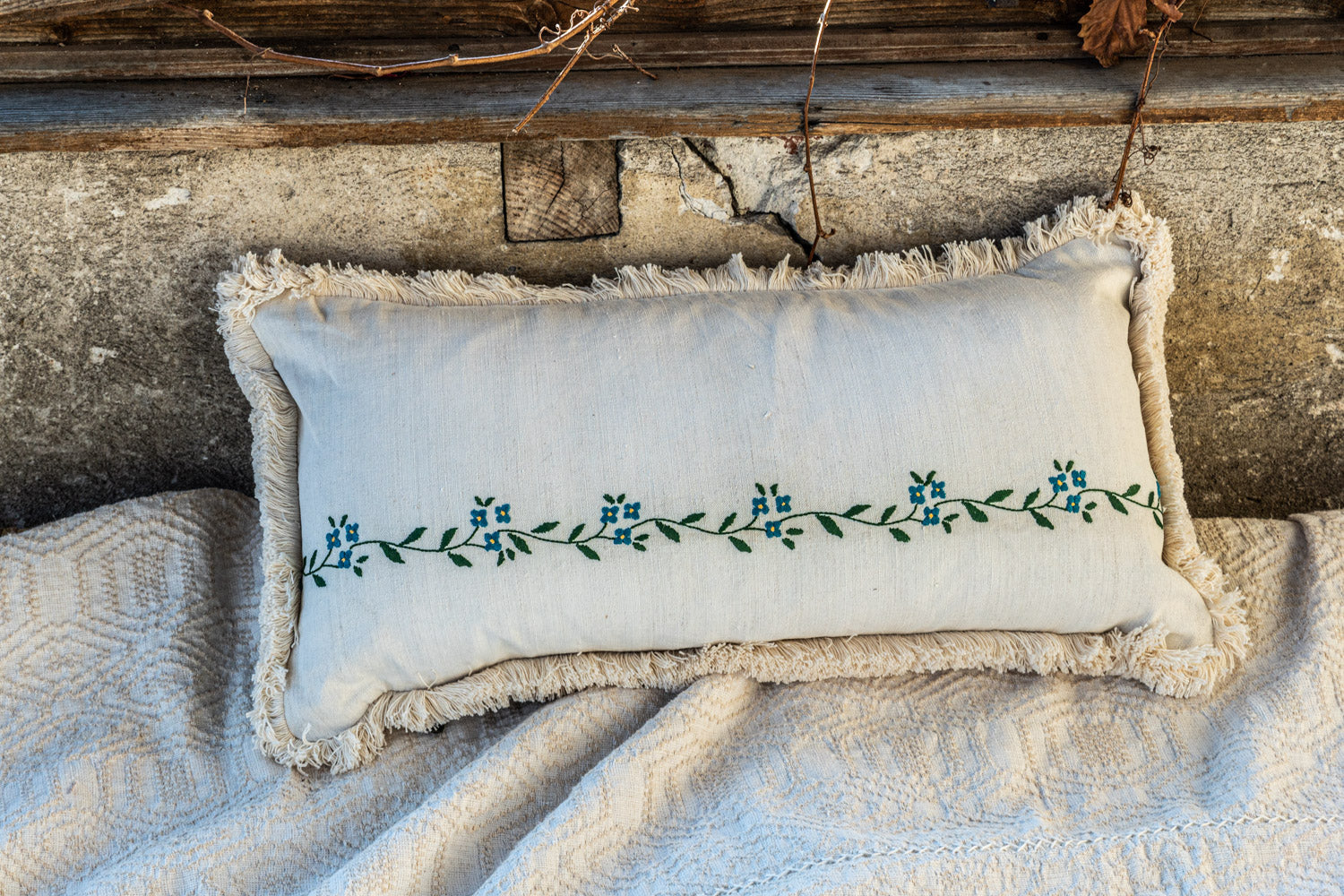 Pillow: Embroidered antique and vintage Hungarian hemp - P193
