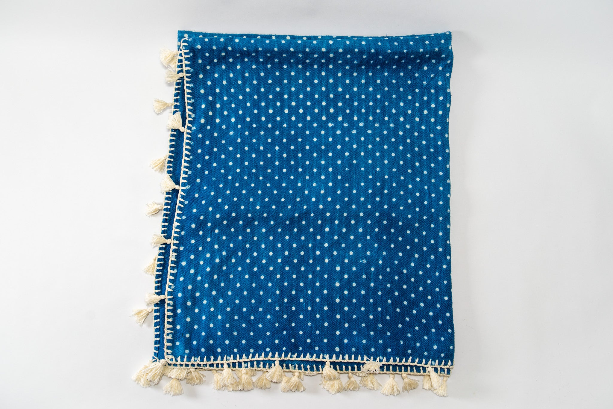 Throws:  - Handwoven antique Hungarian hemp with Indigo pattern - TH07