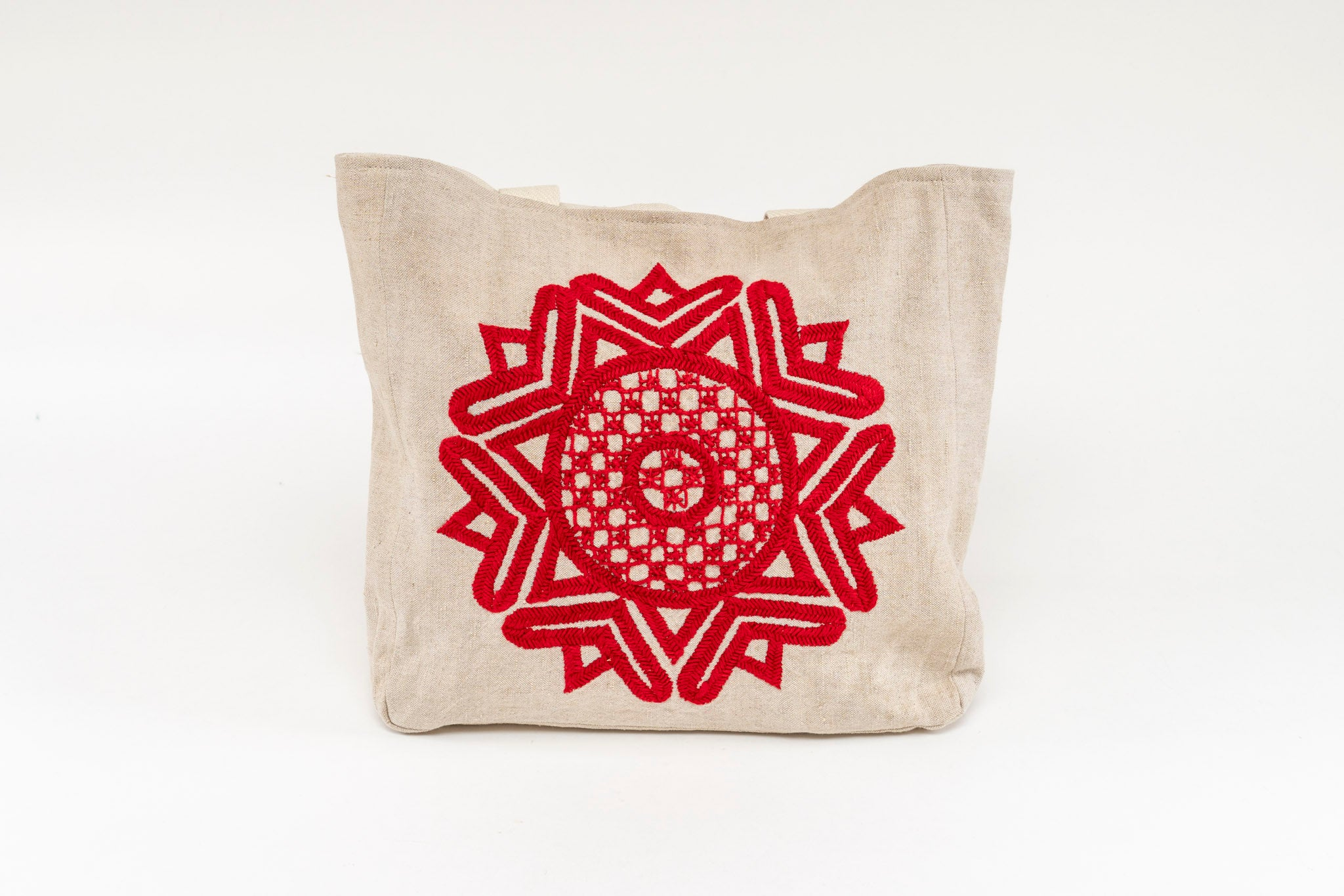 Carry Bag: Hand embroidered antique Hungarian hemp