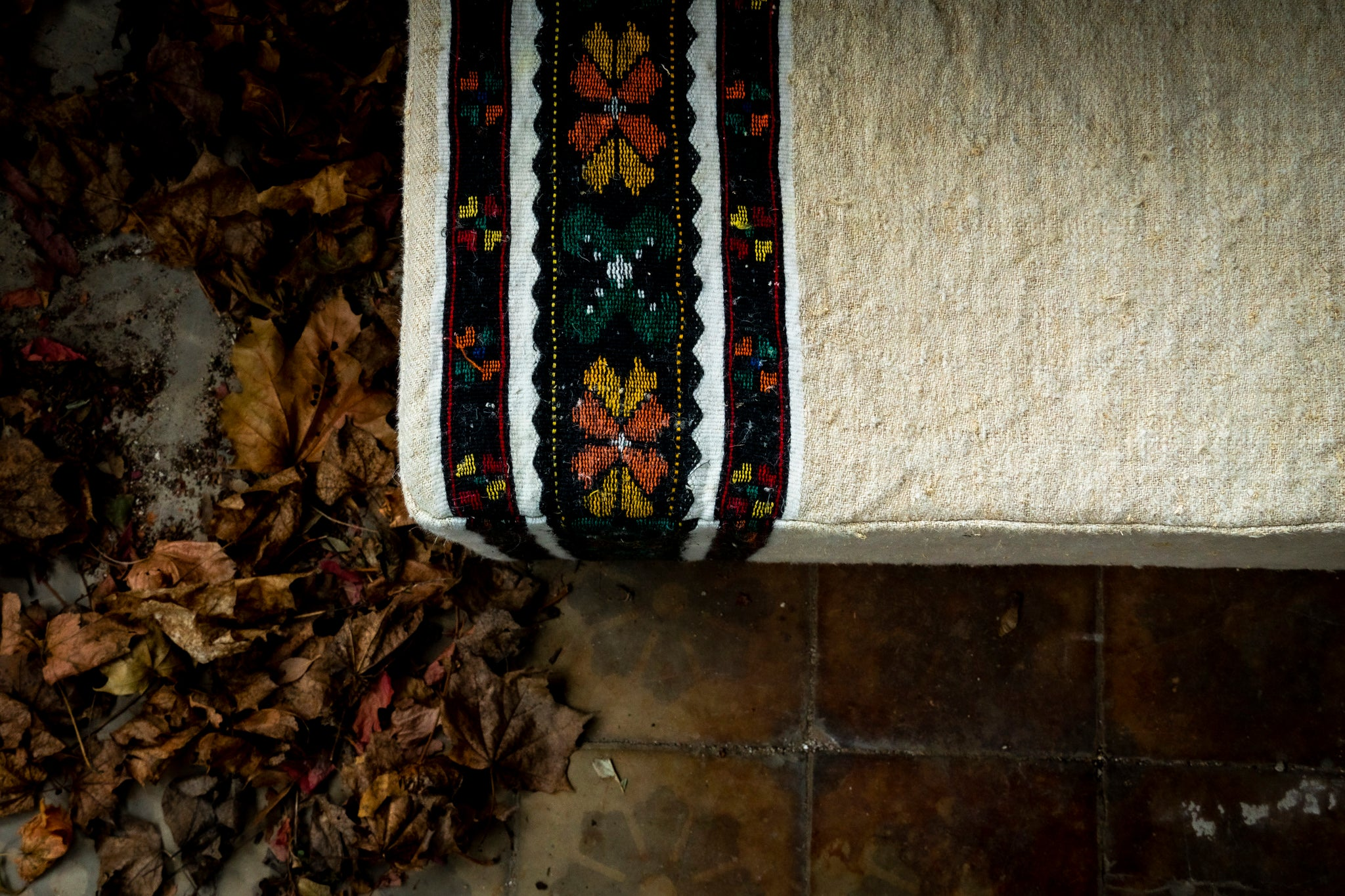 Ottoman: Rare Antique Hungarian handwoven hemp cloth