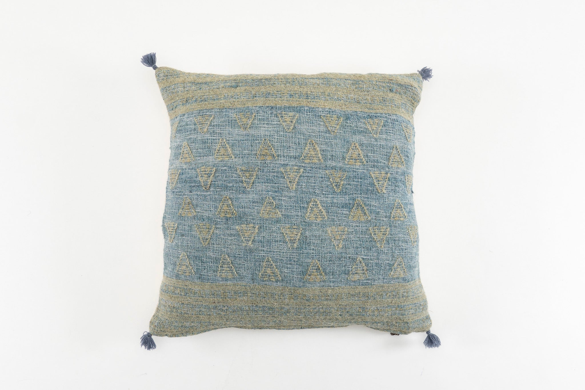 Pillow: Handwoven wool, antique Hungarian hemp