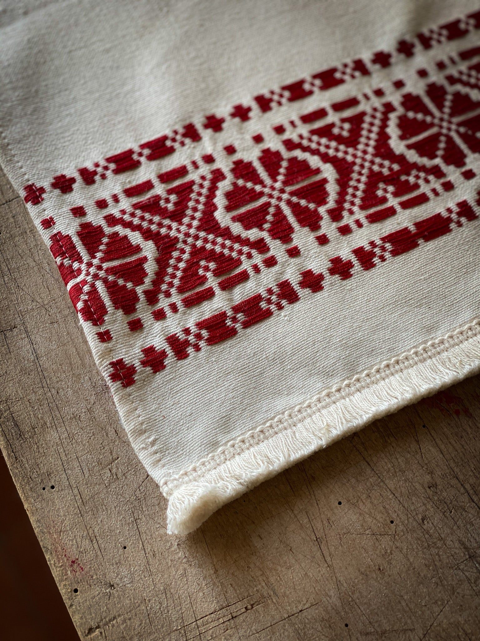 Table runner: Antique handwoven Hungarian hemp - TW09