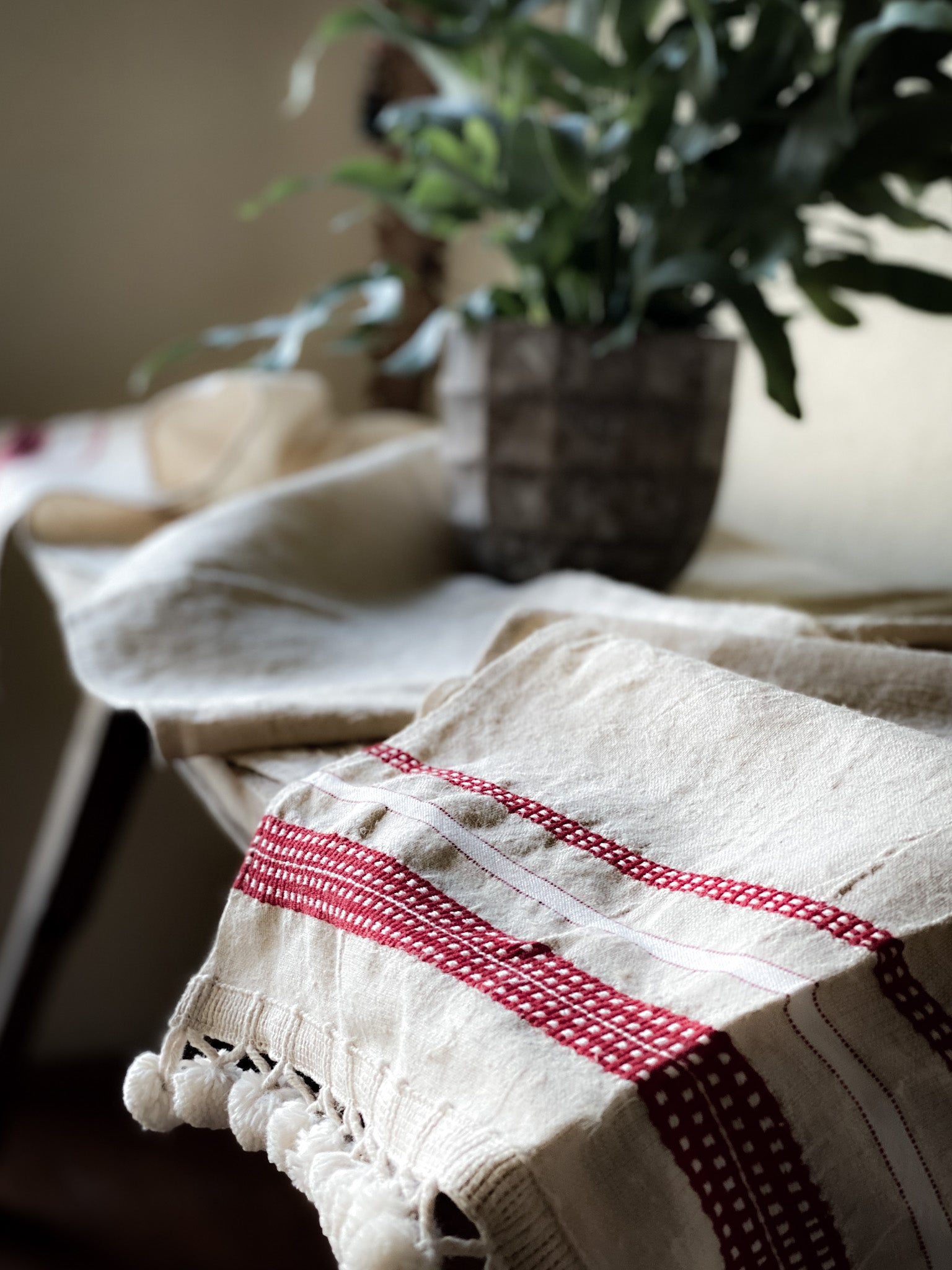 Table runner: Antique handwoven Hungarian hemp - TW10