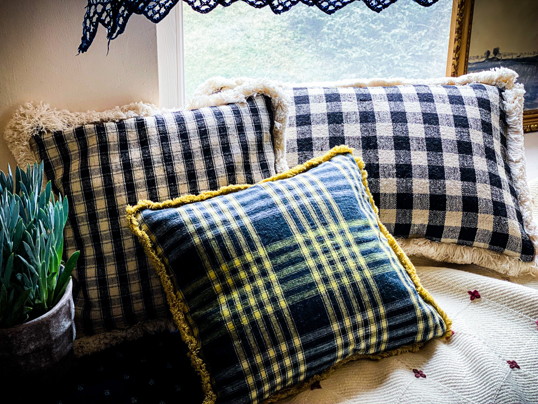 Pillow: Handwoven antique Bulgarian wool