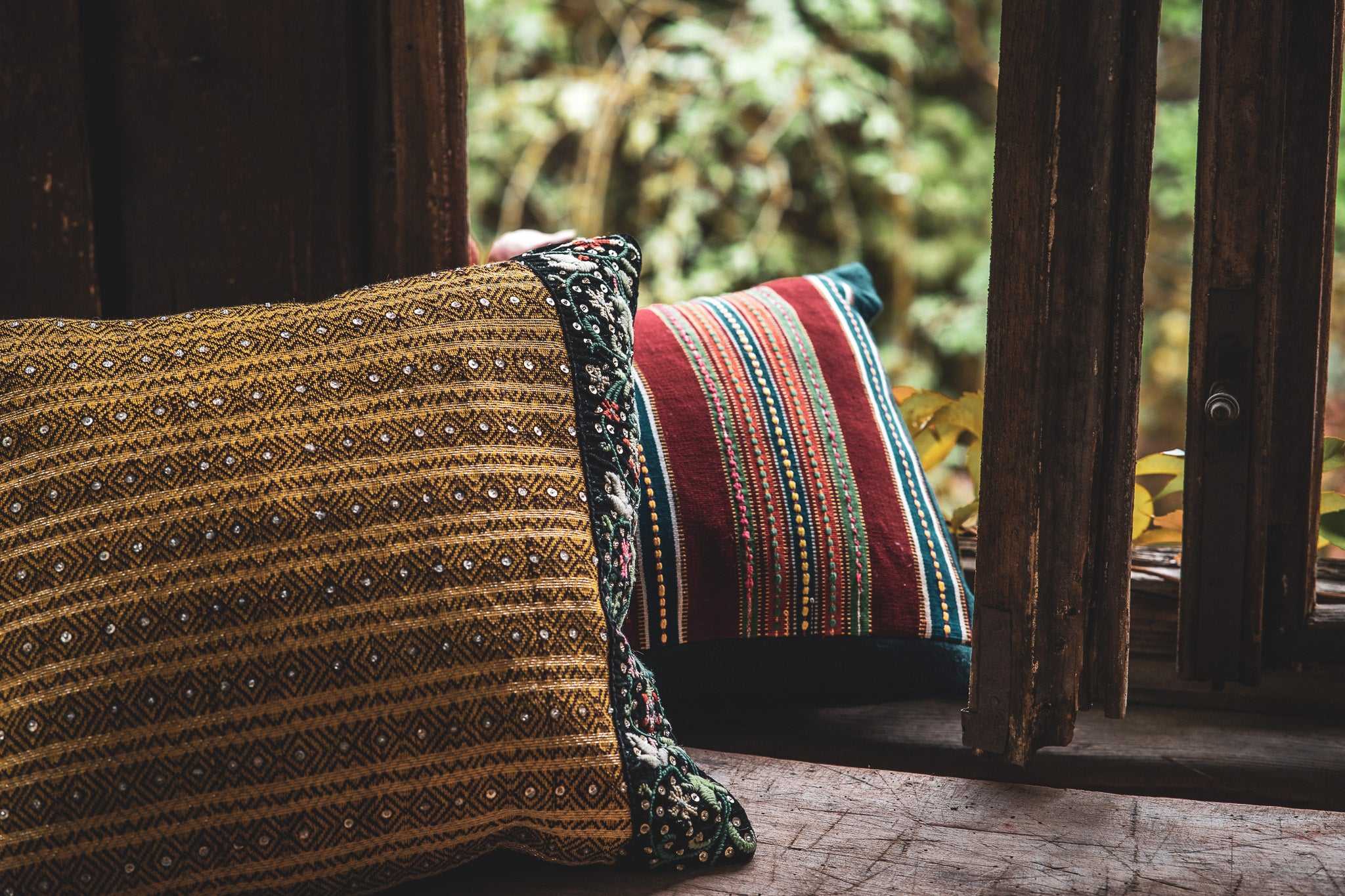 Pillow: Handwoven and adorned antique Romanian wool - P287