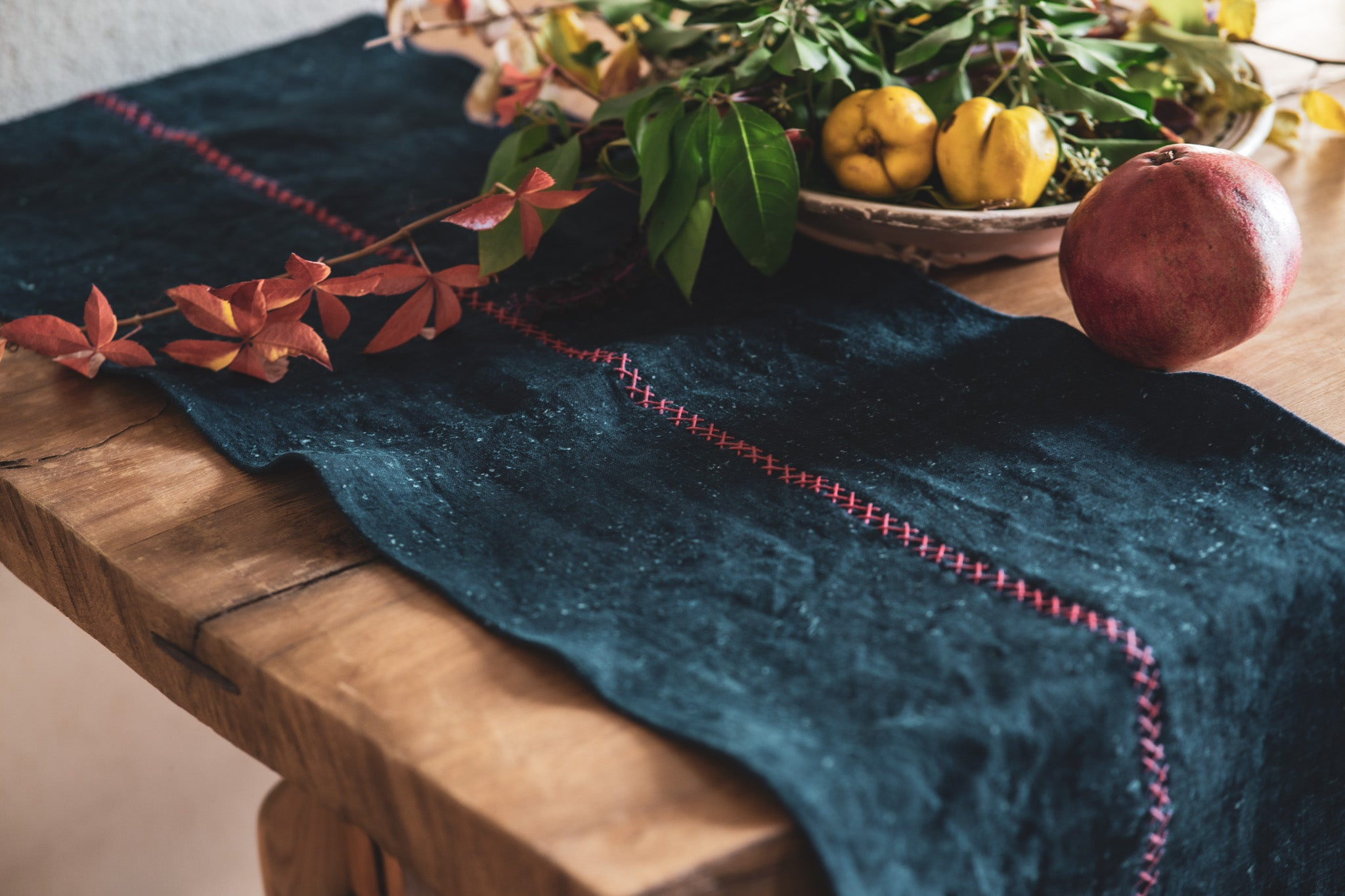 Table runner: Antique handwoven Hungarian hemp indigo over dye - TW28