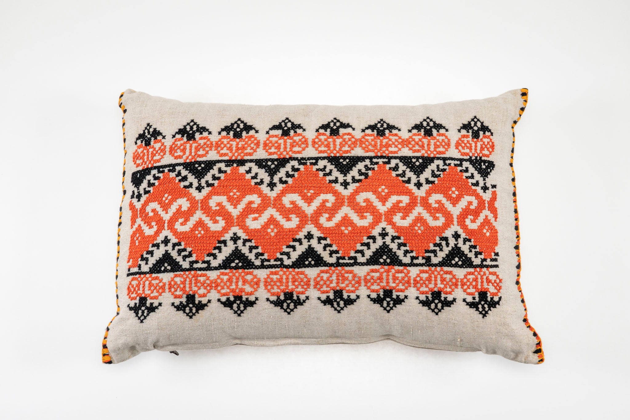Pillow: Embroidered antique Hungarian hemp