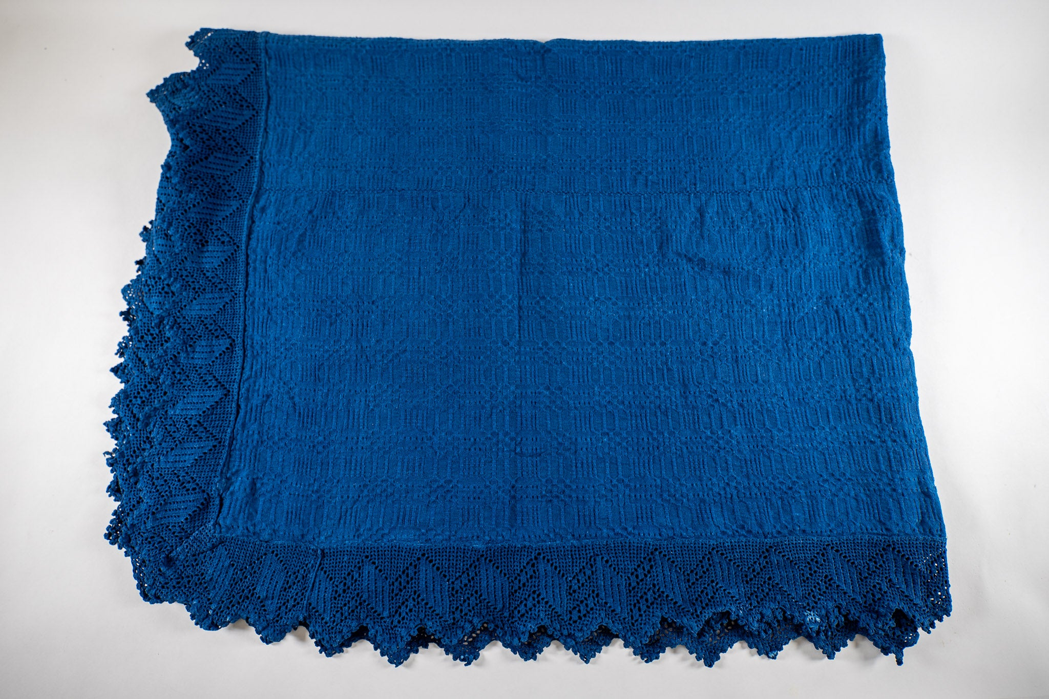 Table cloth: Antique handwoven Hungarian hemp indigo over dye - TW26