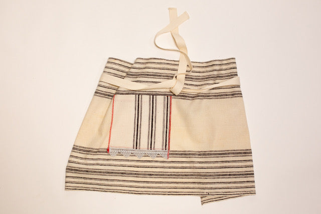 Apron: Cafe style, Antique Bulgarian handwoven cotton