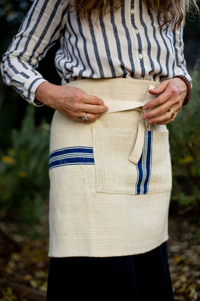 Apron: Cafe style, vintage handwoven Hungarian hemp