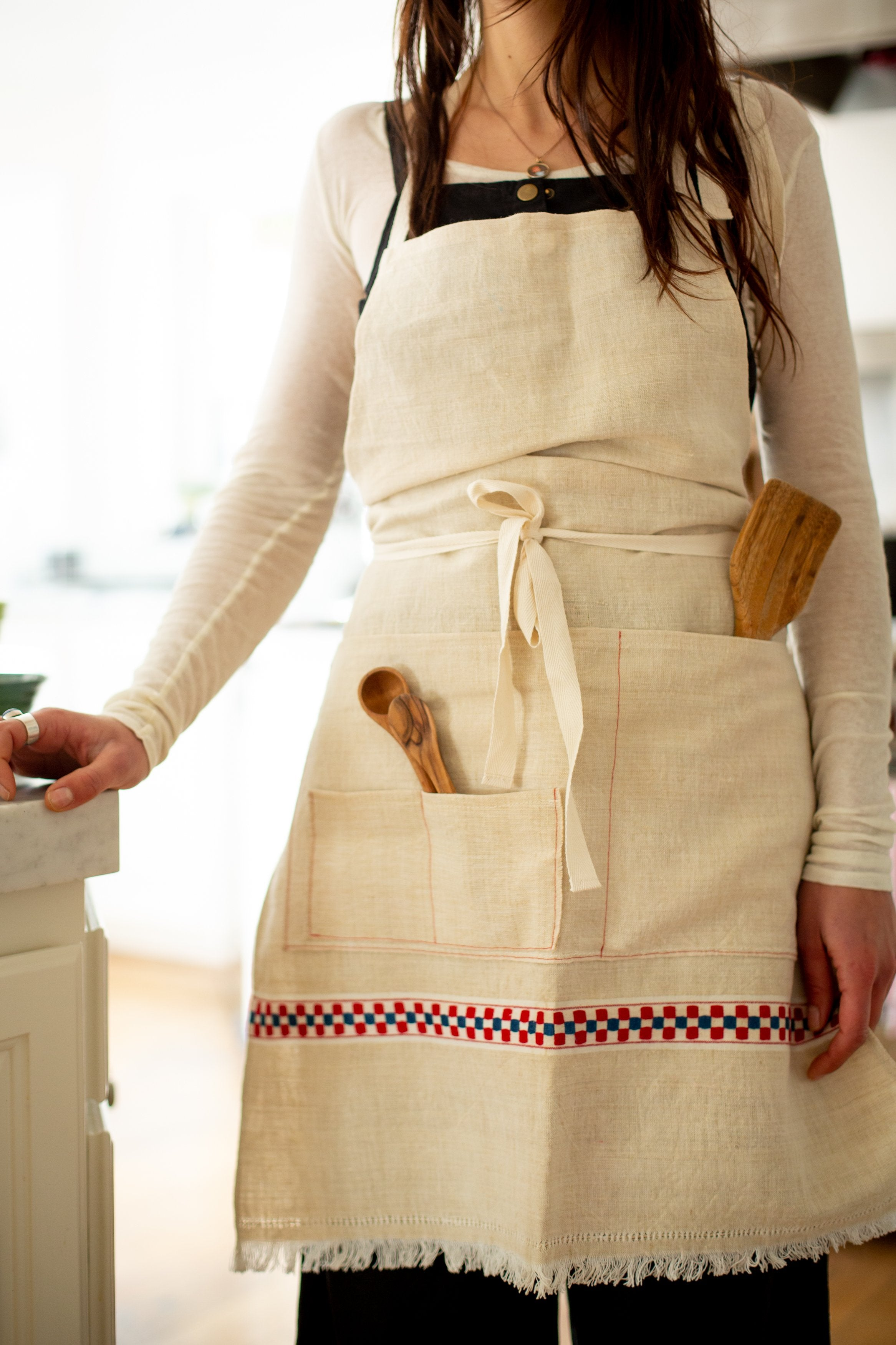 Apron: Full style, vintage handwoven Hungarian hemp - A28