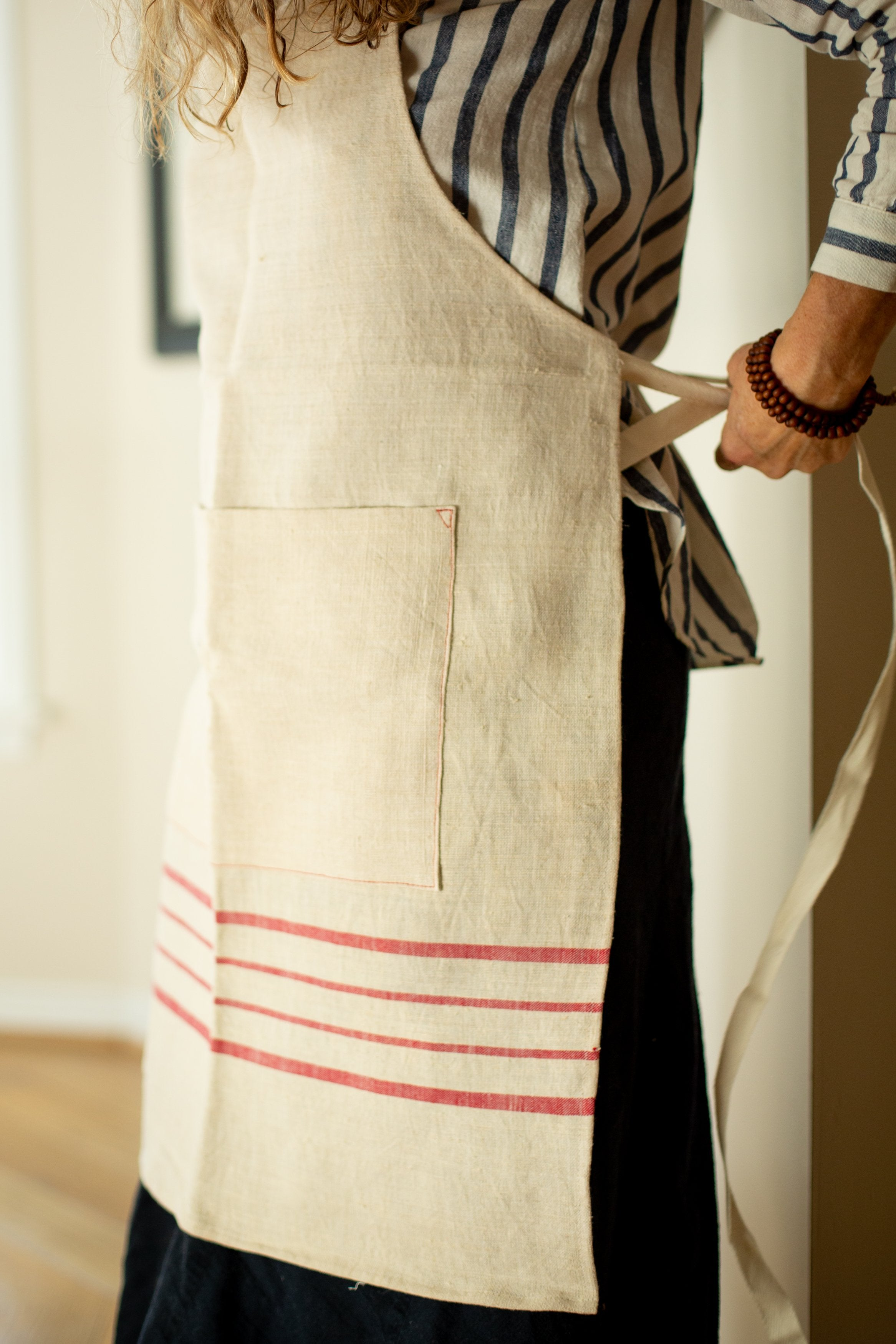 Apron: Full style, vintage handwoven Hungarian hemp - A26