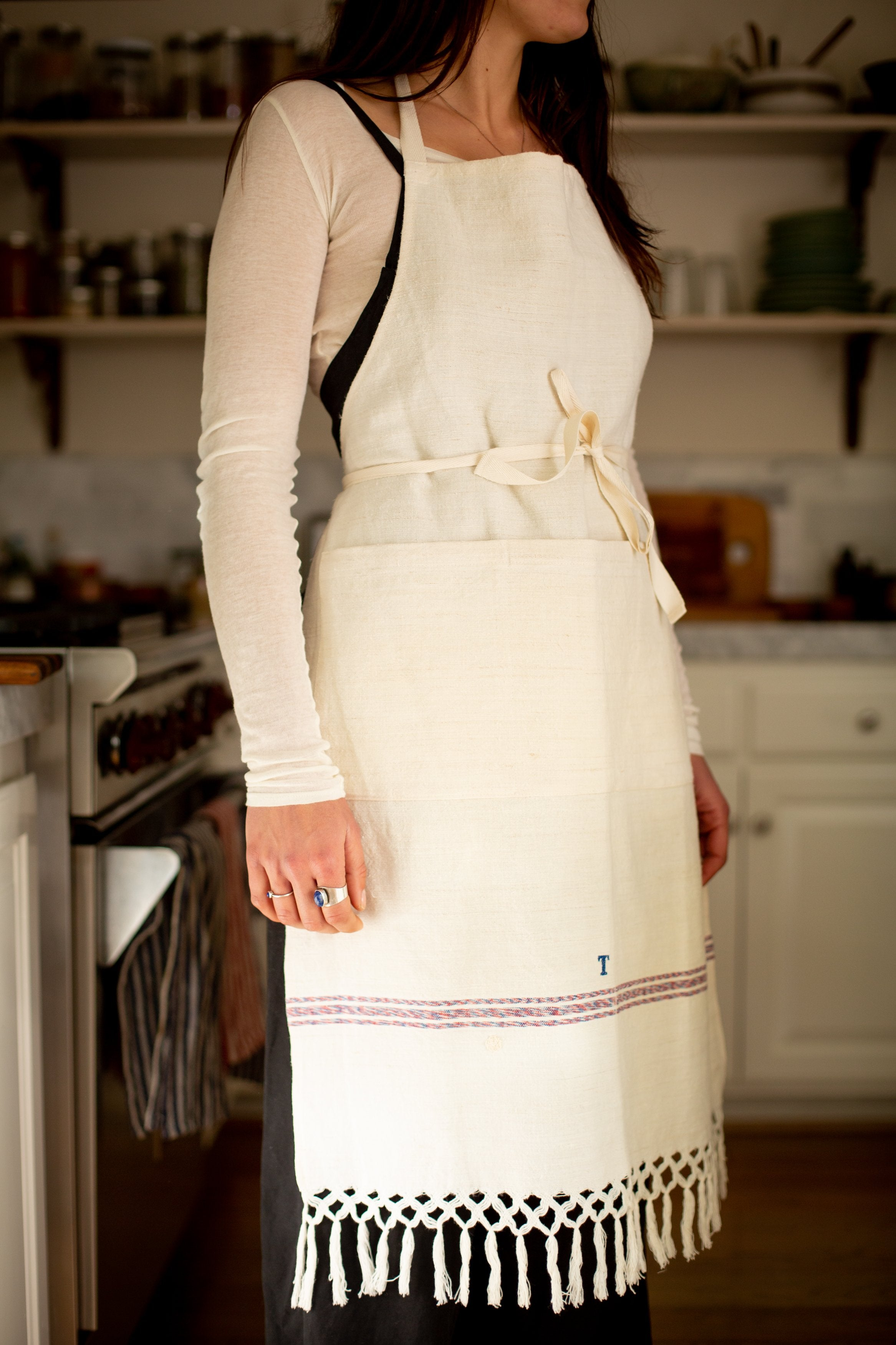 Apron: Full style, vintage handwoven Hungarian hemp - A36