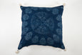 Pillow: Handwoven antique Hungarian hemp, wax resist dyed Indigo