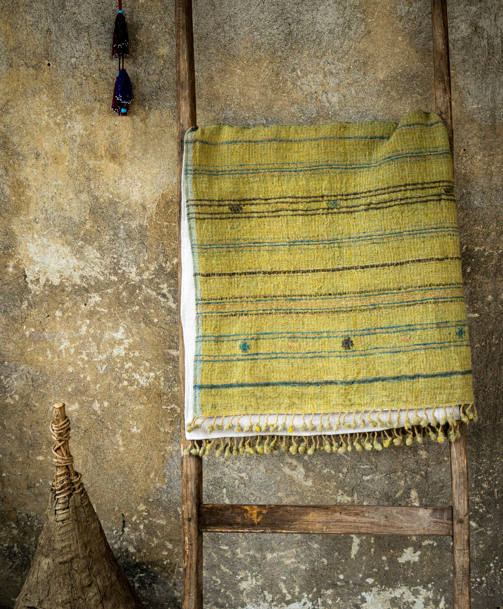 Throw: Hand woven wool with hand woven Hungarian hemp backing