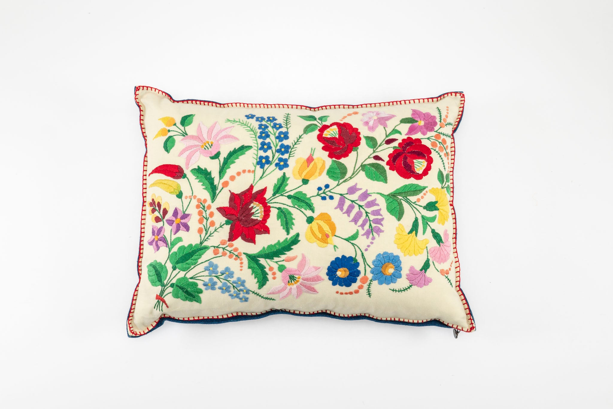 Pillow: Embroidered antique handwoven Hungarian hemp - P124