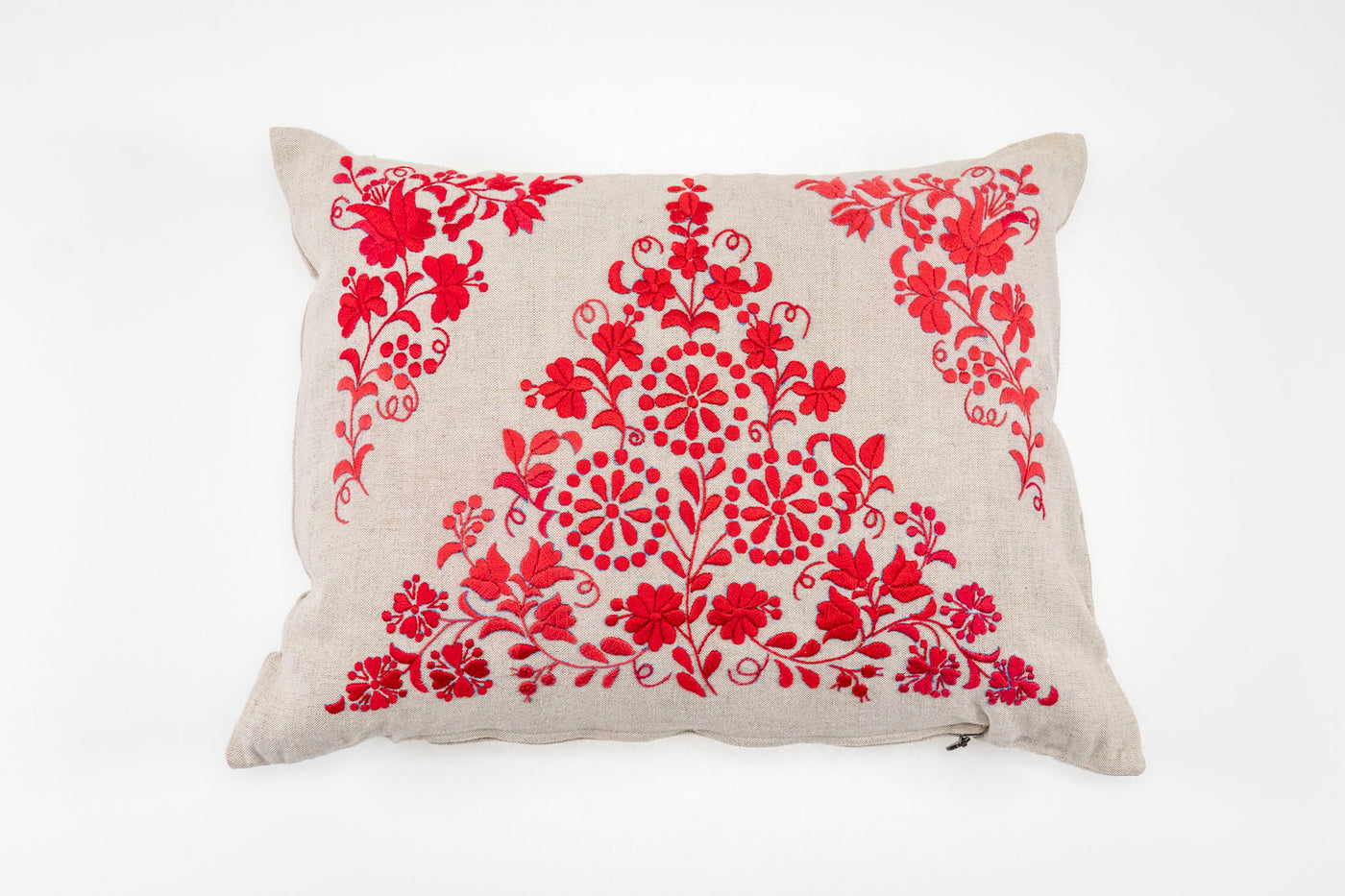 Pillow: Embroidered antique and vintage Hungarian hemp
