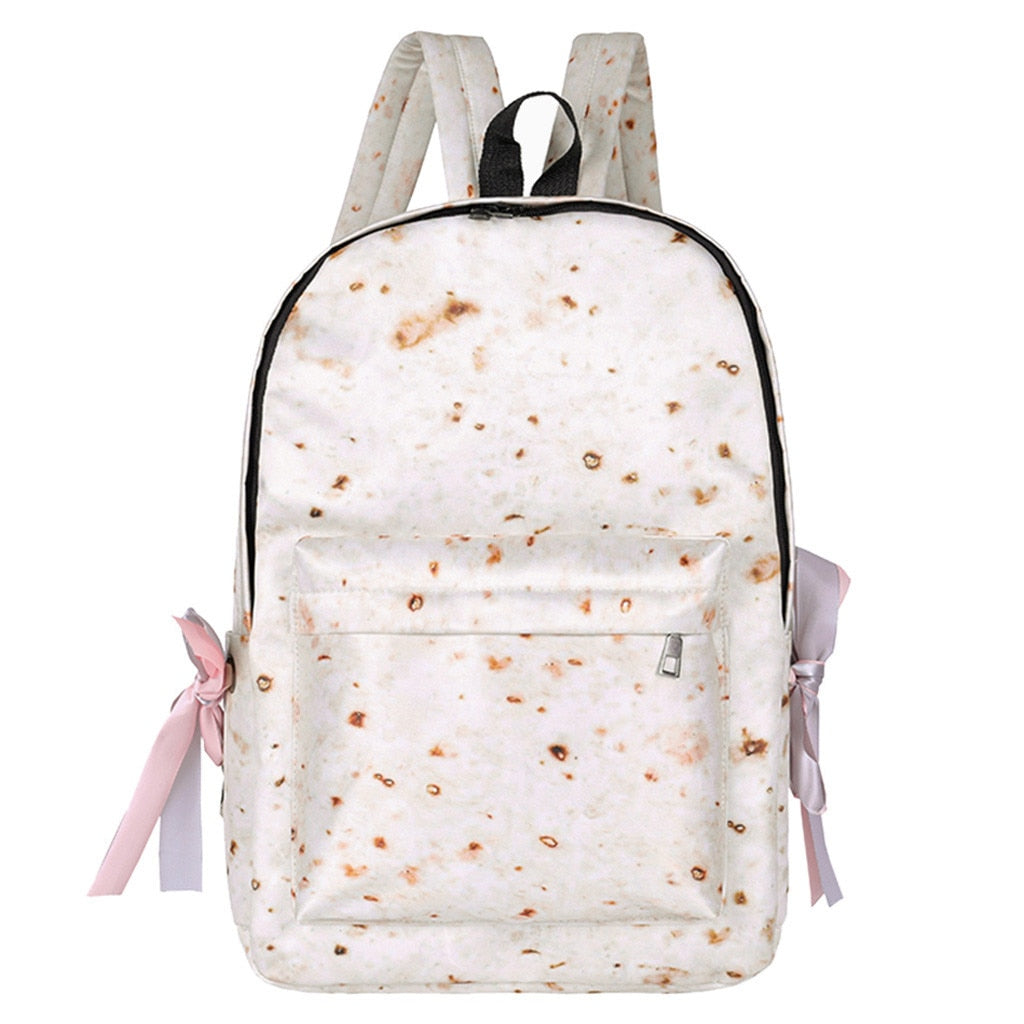 Female Burritos Print Woman School Backpack Capacity Shoulder Bag Backpack Novelty Fashion Student Bagpack Mochila Feminina