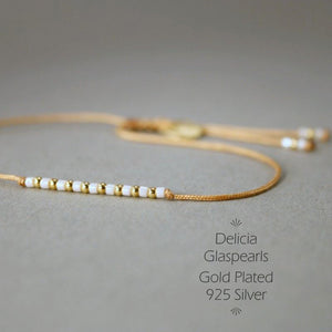 "Armband in Gold - Rotbraun ""Delica Fine Pearls"" Textilband + Schiebeknoten - animoart"