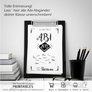 Abitur 2019 - PRINTABLE - Druck-Vorlage - Digital Download - animoart