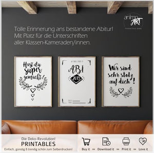 Abitur 2019 - PRINTABLE 3er Set- Druckvorlagen - Digital Downloads - animoart