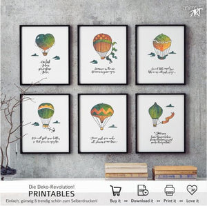 "PRINTABLE ""Balloons of love"" 6er-Set Digital Downloads - animoart"